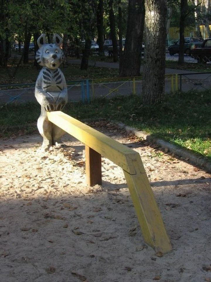 20 Creepy Playgrounds - He looks surprised because he has a bench for a penis.