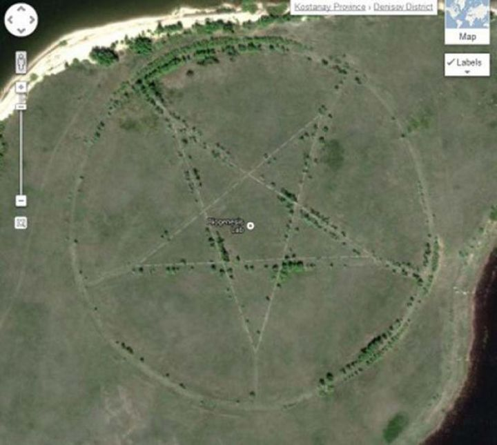 25 Weird Things Found on Google Maps - A giant pentagram in a field. That's not creepy at all...not!
