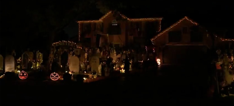 Homeowner Creates Halloween Light Show Synched to Queen.