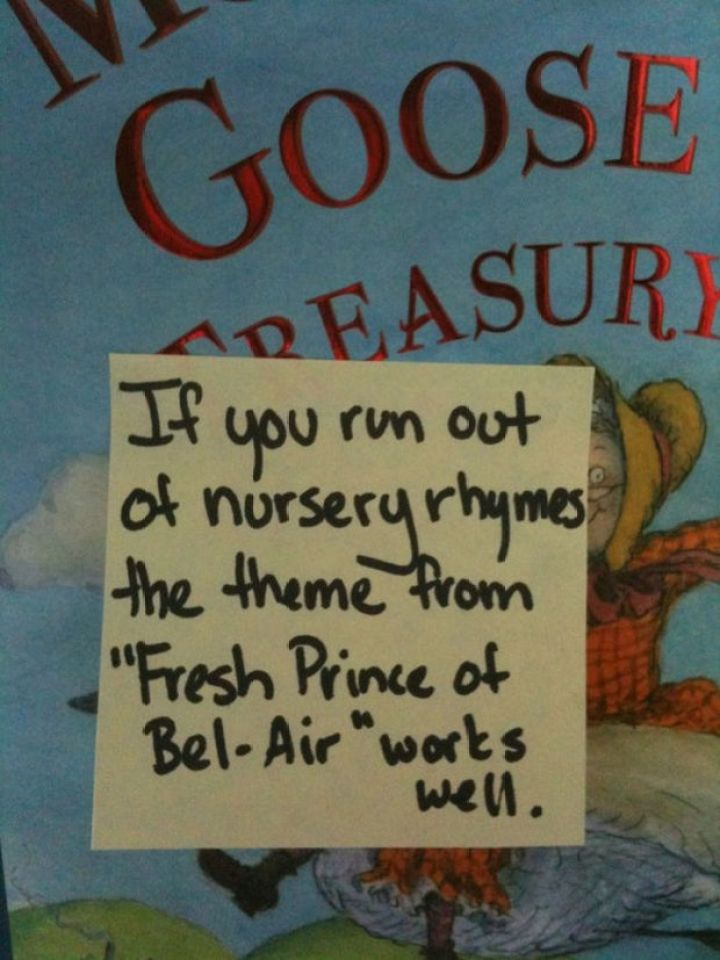 """Stay-at-Home Dad Writes Funny Post-It Notes - If you run out of nursery rhymes, the theme from """"Fresh Prince of Bel-Air"""" works well."""