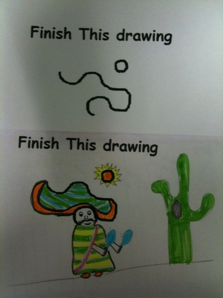 19 Clever Kids - He got all that from a wavy line and a circle? This kid is epic.