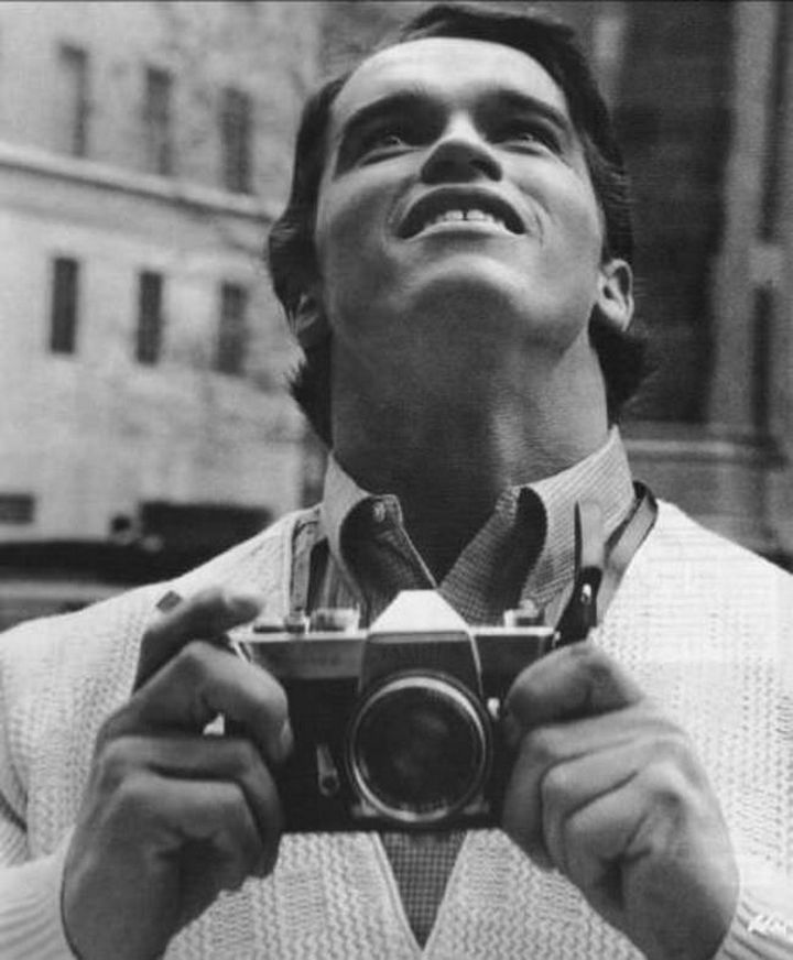 Arnold Schwarzenegger visiting New York for the first time 1968 and visibly impressed with the sights.