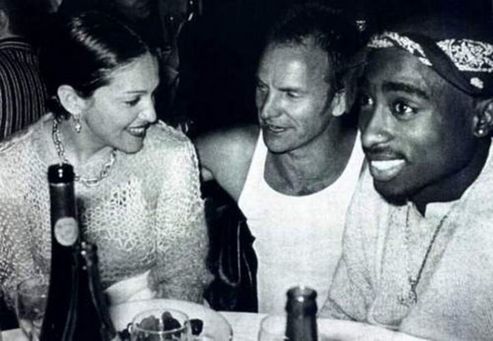 Madonna, Sting and Tupac hanging out at the Tribeca Film Festival dinner in 1994.