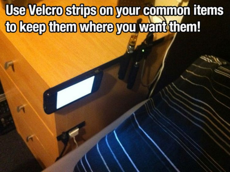52 Cleaning and Life Hacks - Use Velcro strips on your common items to keep them where you want them!
