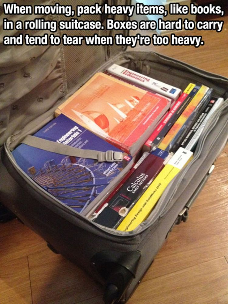 52 Cleaning and Life Hacks - When moving, pack heavy items, like books, in a rolling suitcase. Boxes are hard to carry and tend to tear when they're too heavy.