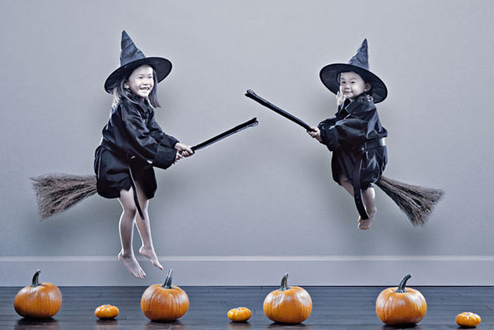 Kristin and Kayla - Adorable little witches getting ready for Halloween.