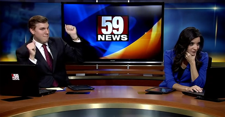 News Anchor Dan Thorn Dances It up but His Co-Anchor Shakes Him Off