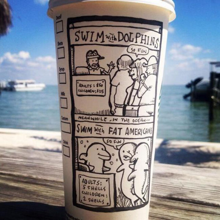 Starbucks Cup Drawings by Josh Hara - Swim with Dolphins.