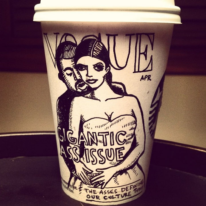 Starbucks Cup Drawings by Josh Hara - Vogue: Gigantic Ass Issue.