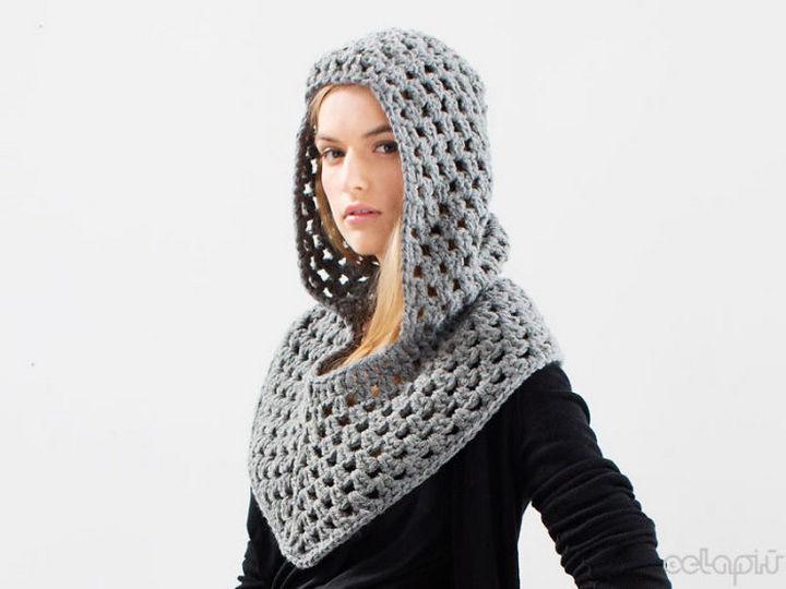 21 Crocheted Winter Hats - Crochet Medieval Hood.