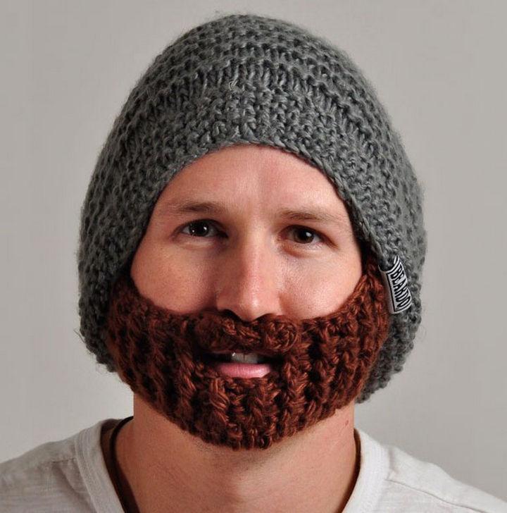 21 Crocheted Winter Hats - Beard Hat.