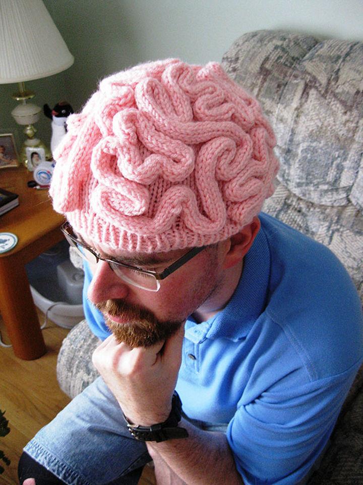 21 Crocheted Winter Hats - Brain Hat.