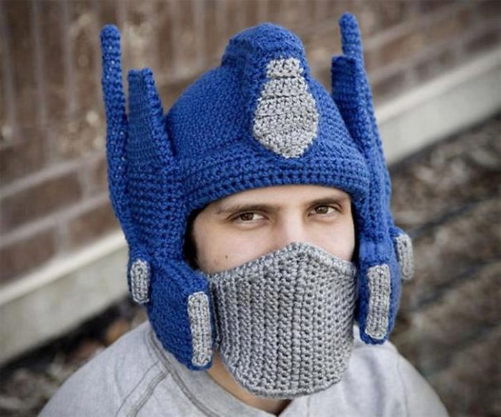 21 Crocheted Winter Hats - Crochet Optimus Prime Hat.