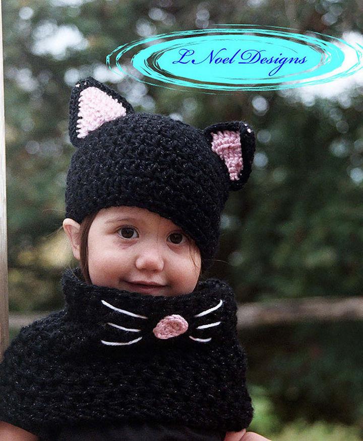 21 Crocheted Winter Hats - Black Cat Hat.