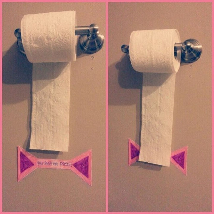 24 Life Hacks for Kids - Prevent unnecessary use of toilet paper by using a tear mark to show how much to use.