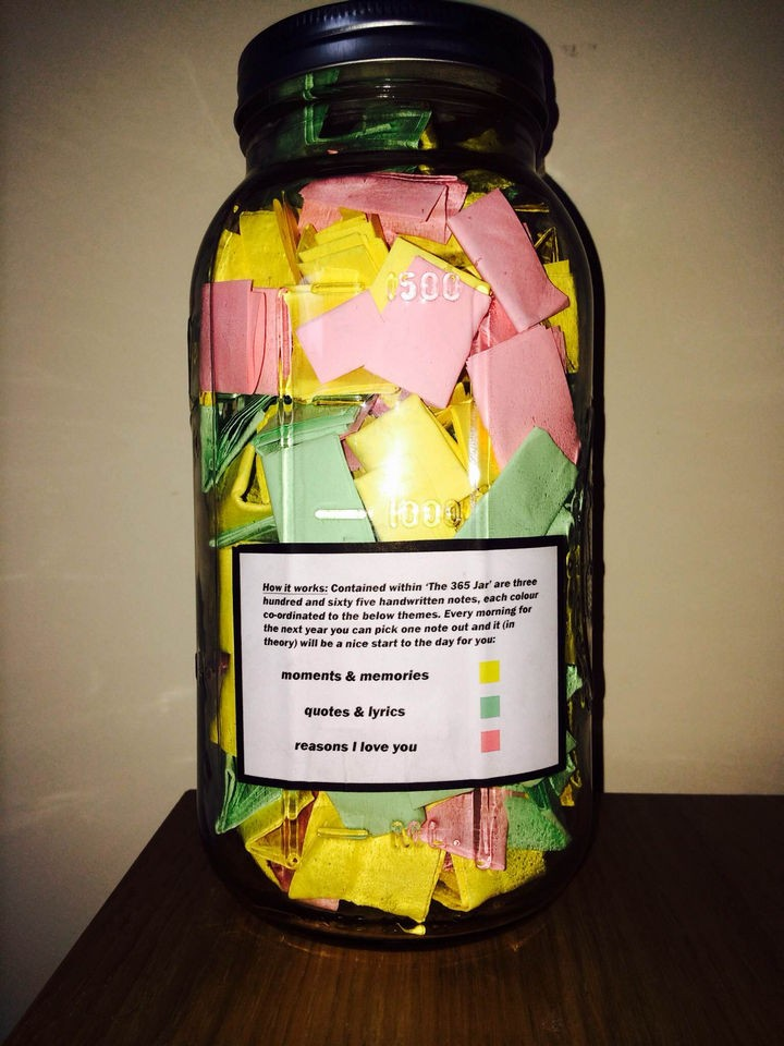 Create categories along with special instructions on how to use the notes and paste it on the side or back of the jar.