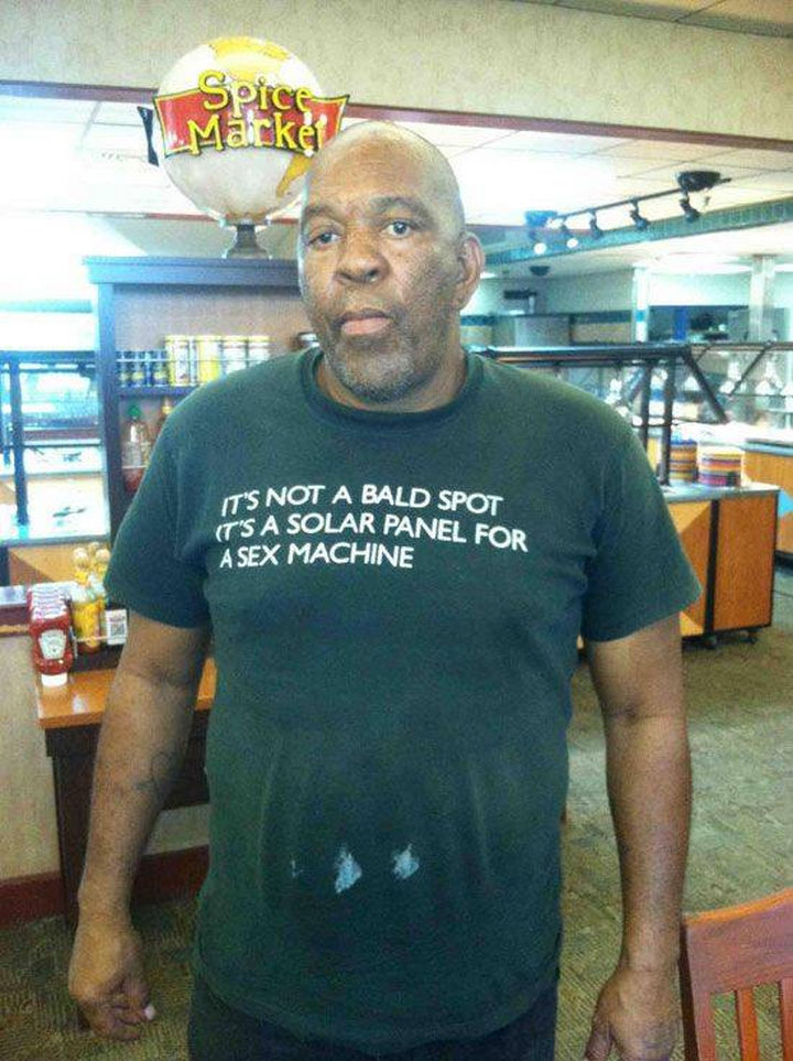 11 Seniors Wearing Funny Shirts - Being bald has its advantages.