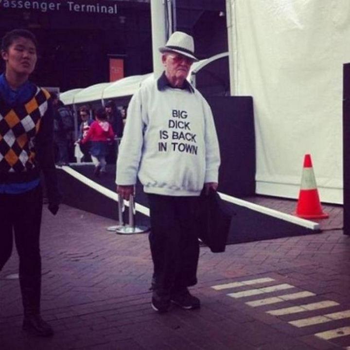 11 Seniors Wearing Funny Shirts - What he said.