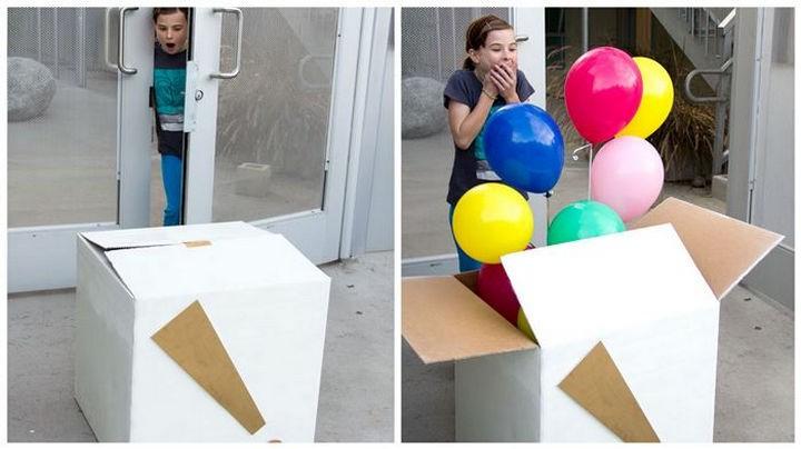 16 Party Hacks - Make a DIY balloon surprise box.