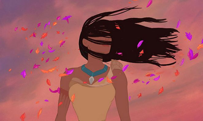 Pocahontas' hair realistically blowing in the wind.