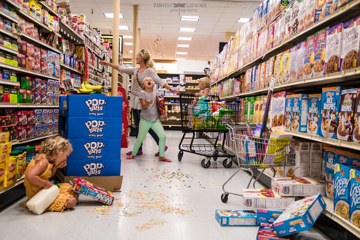 Bringing kids to the supermarket may involve some chills and spills.