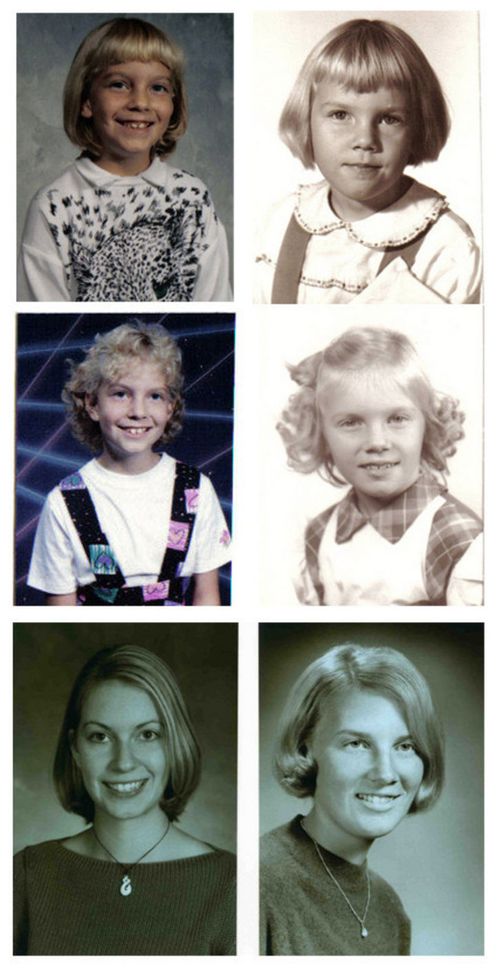 28 Identical Parent and Child Photos - Daughter and mother at various ages.