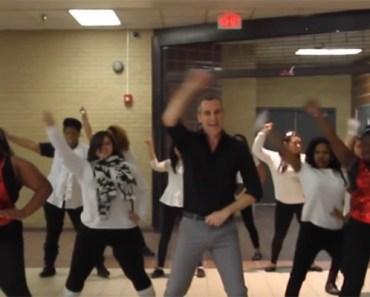 School Teacher Leads Students in 'Uptown Funk' Dance Party.