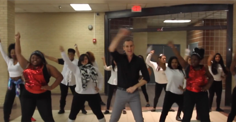 School Teacher Leads Students in 'Uptown Funk' Dance Party.