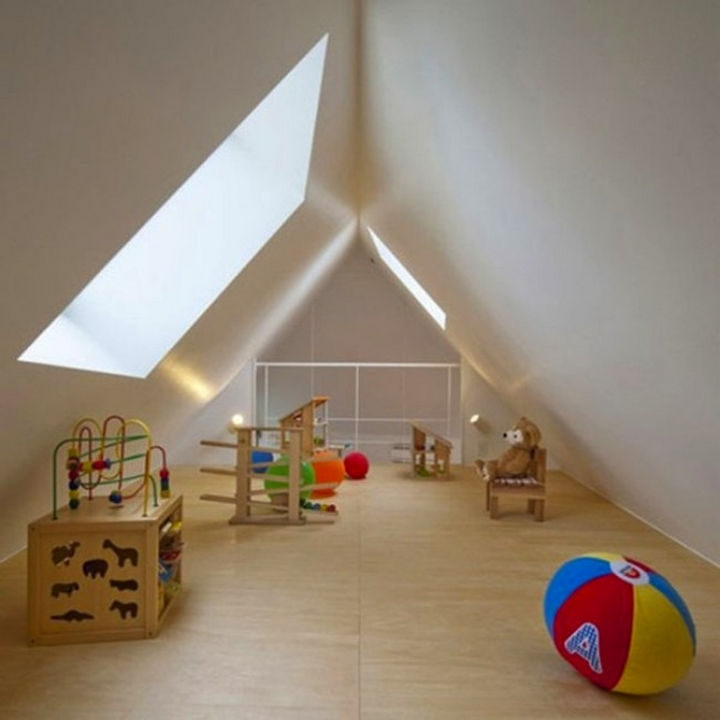 Small House Design in Japan - The two-story home includes a loft that features a playroom for the kids but it can also be used as a home office.