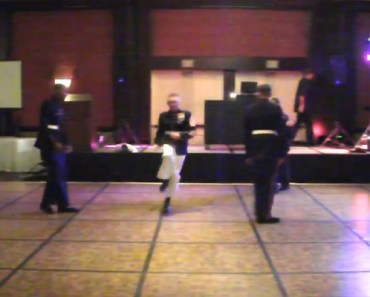 US Marine Breaks Some Dance Moves at Marine Corps Ball.