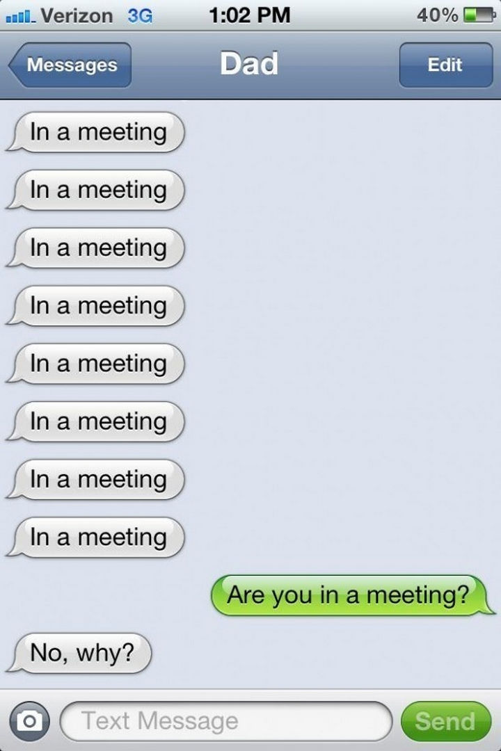 22 Hilarious Texts between Parents and Their Kids - I'm in a meeting.