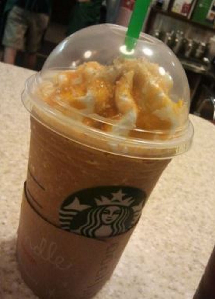 39 Starbucks Secret Menu Drinks - Caramel Popcorn Frappuccino recipe.