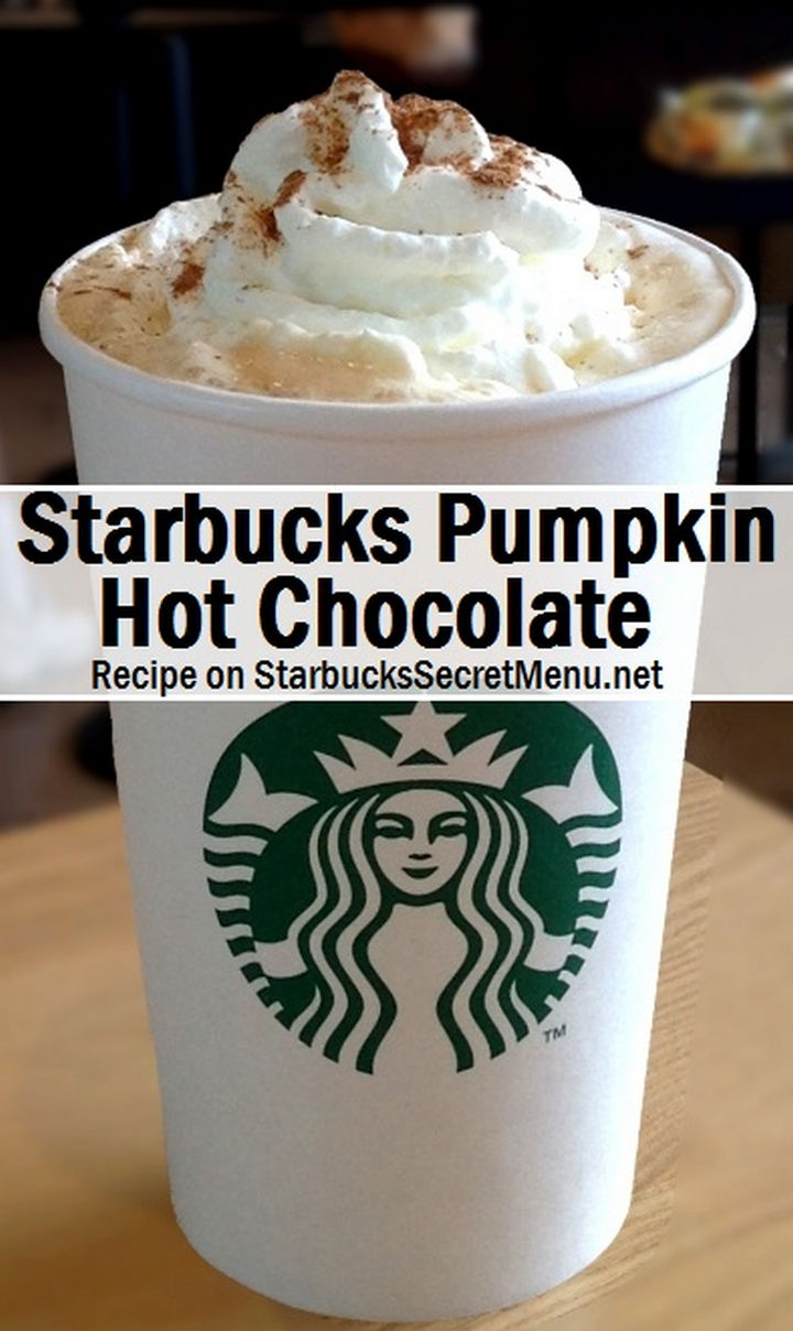 39 Starbucks Secret Menu Drinks - Pumpkin Hot Chocolate recipe.