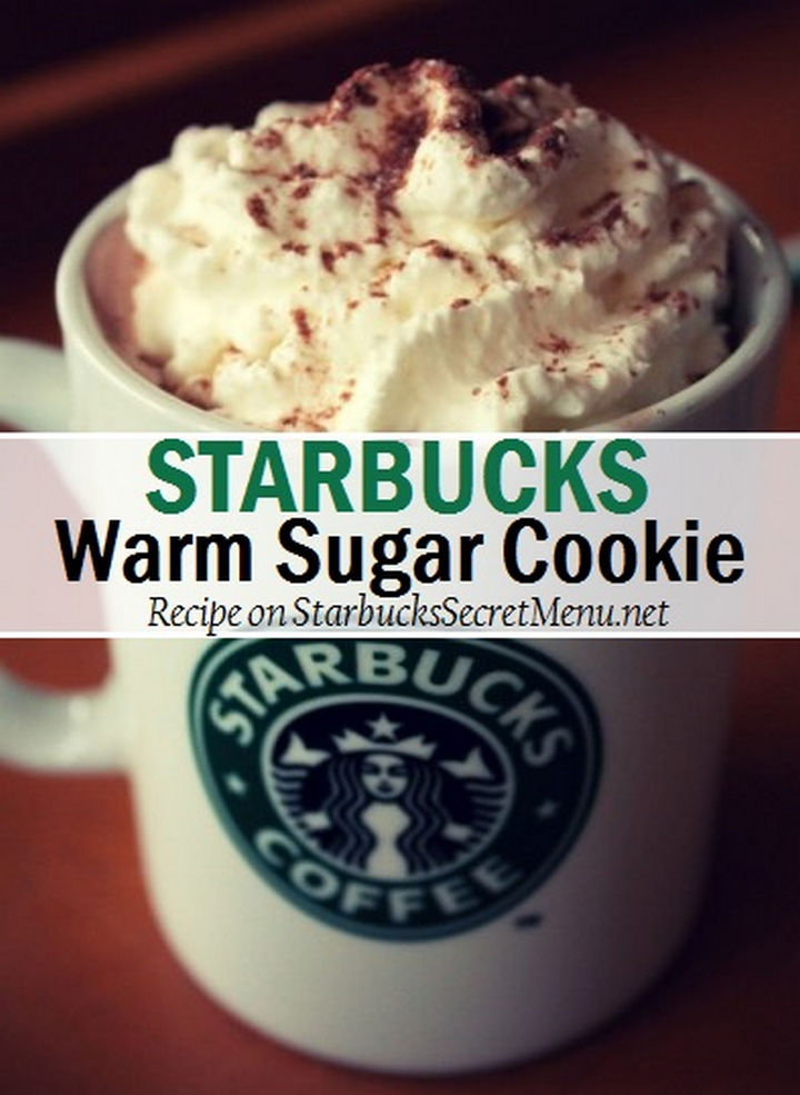 39 Starbucks Secret Menu Drinks - Warm Sugar Cookie Hot Chocolate recipe.