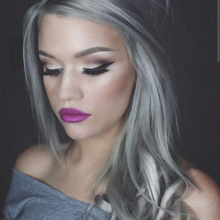 Young women are making it their own and looking great with luscious silver locks. The 'granny hair' trend is trending.