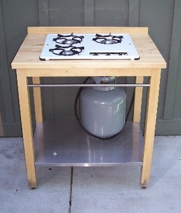 34 DIY Backyard Ideas for the Summer - Build an outdoor kitchen by hacking an IKEA table.