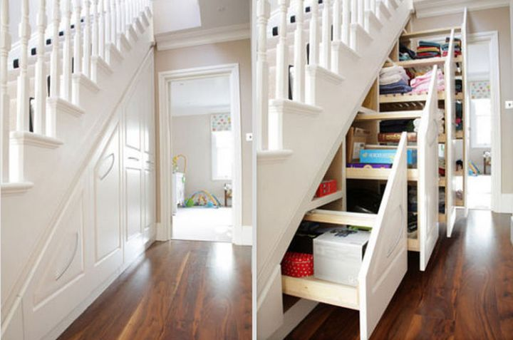 Reclaim the space under your staircase and build drawers for extra storage - 37 Home Improvement Ideas