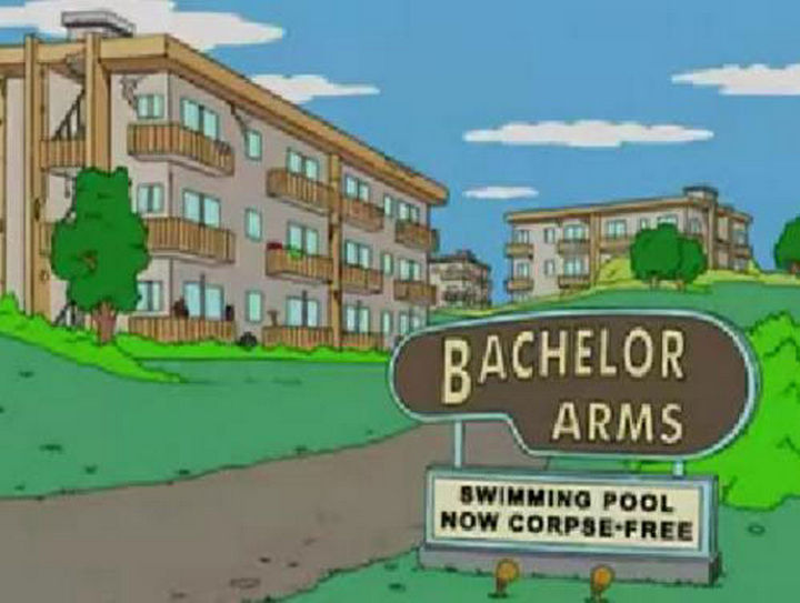 "31 Funny Simpsons Signs - ""Bachelor Arms - Swimming pool now corpse-free."""