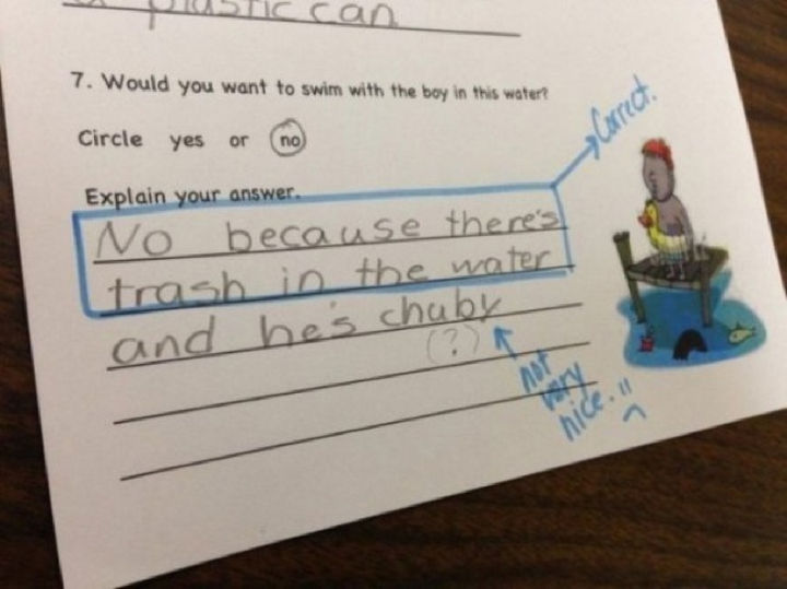 25 Funny Test Answers From Funny Kids - Not very nice.