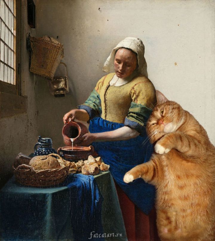 Fat Cat Photobombs Famous Paintings - The Kitchen Maid, Johannes Vermeer (1657–1658).