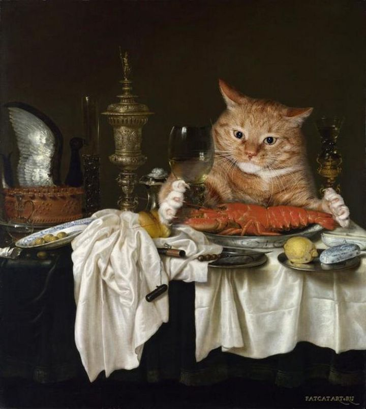 Fat Cat Photobombs Famous Paintings - Still Life with a Lobster, Willem Claesz Heda (1650).