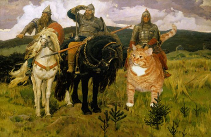 Fat Cat Photobombs Famous Paintings - Bogatyrs, Victor Vasnetsov (1898)