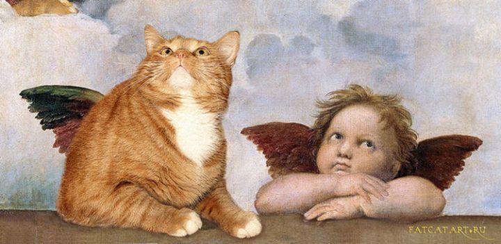 Fat Cat Photobombs Famous Paintings - Sistine Madonna, Raphael (1612).