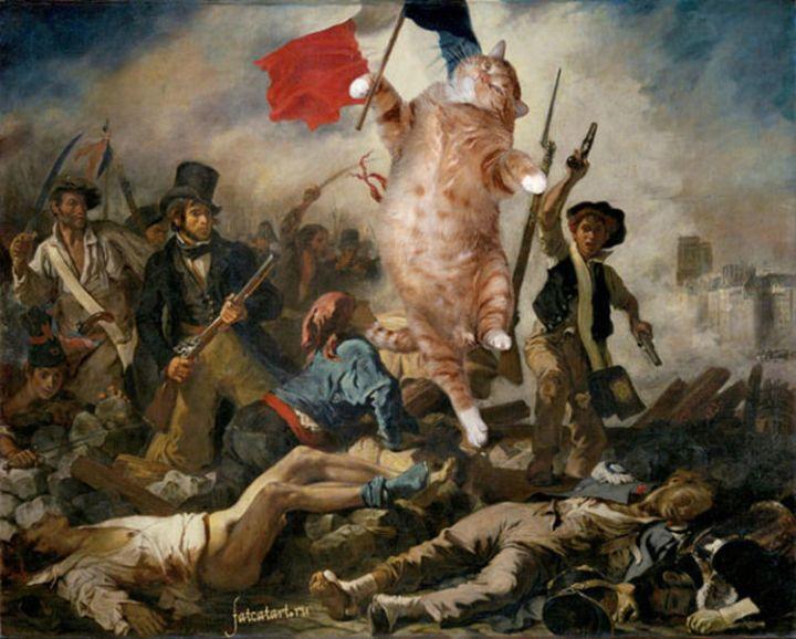 Fat Cat Photobombs Famous Paintings - Liberty Leading the People, Eugène Delacroix (1830)