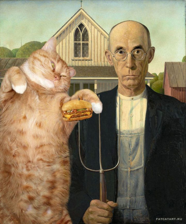 Fat Cat Photobombs Famous Paintings - American Gothic, Grant Wood (1930).