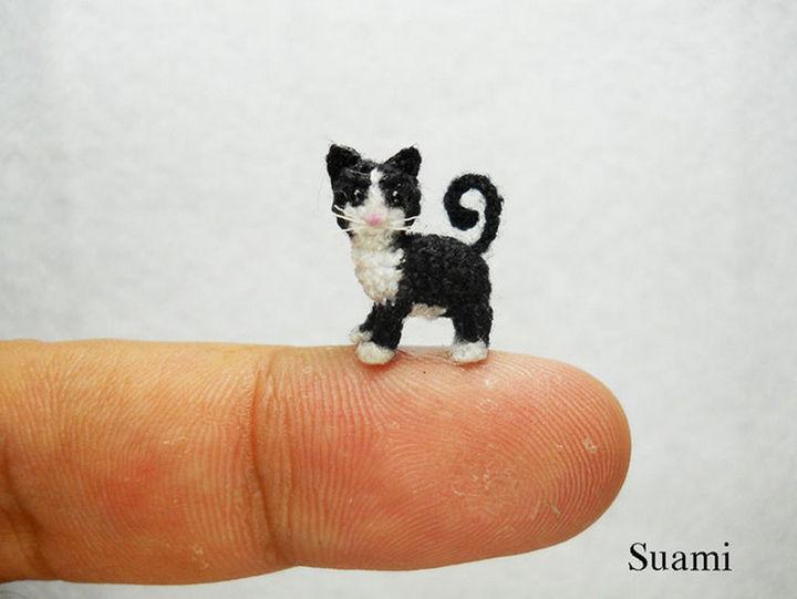 Micro stuffed crochet cat.