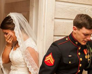 US Marine and His Bride-To-Be Praying Before Their Wedding.