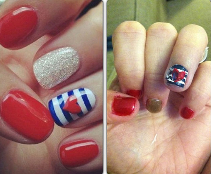 18 Pinterest Beauty Fails - She tried to show patriotism for July 4th and was so close.