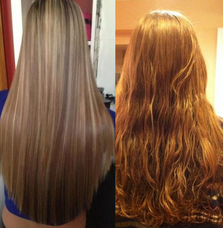 """18 Pinterest Beauty Fails - This hair strengthening """"recipe"""" didn't leave her hair straight but left her floor and walls sticky instead!"""