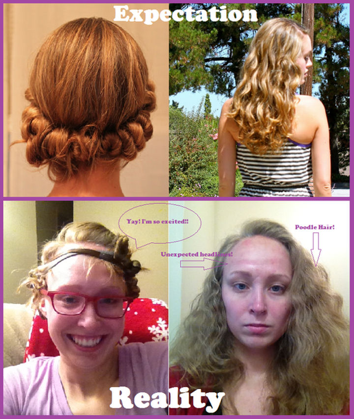 18 Pinterest Beauty Fails - I don't think she was going for the poodle hair look.